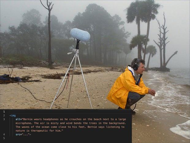 El equipo trabajó para crear etiquetas alternativas más narrativas y mejorar la experiencia de la historia, como esta que describe la escena de la grabación de Bernie Krause. Fotografía: The Guardian / Google / RNB